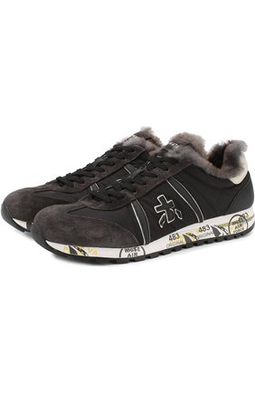 Мужские комбинированные кроссовки lucy на шнуровке с внутренней меховой отделкой PREMIATA черного цвета, арт. LUCY/VAR2623M | Фото 1
