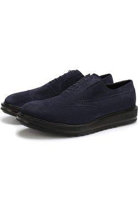 Замшевые оксфорды на шнуровке A. Testoni синие | Фото №1