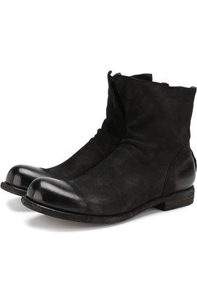Замшевые сапоги на молнии Officine Creative черные   Фото №1
