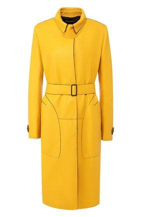 Кожаное пальто с поясом Bottega Veneta желтого цвета | Фото №1