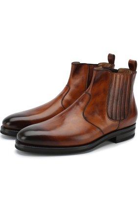 Мужские кожаные челси с патинированием KITON коричневого цвета, арт. USSRINGN00101 | Фото 1