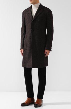 Мужские кожаные челси с патинированием KITON коричневого цвета, арт. USSRINGN00101 | Фото 2