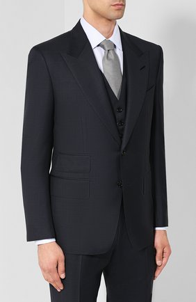 Мужской костюм-тройка из шерсти TOM FORD синего цвета, арт. 411R38/31AL43 | Фото 2