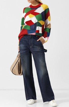 Вязаный пуловер с круглым вырезом и металлизированной нитью Burberry разноцветный   Фото №1