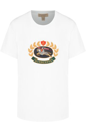 Хлопковая футболка с круглым вырезом и логотипом бренда Burberry белая   Фото №1