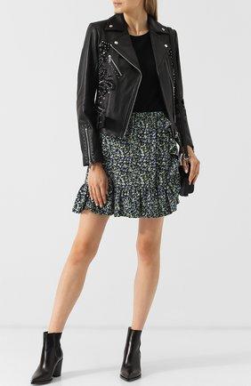 Кожаная куртка с поясом и декоративной отделкой MICHAEL Michael Kors черная   Фото №1