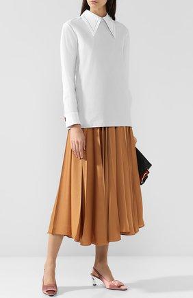 Женская хлопковая блуза с отложным воротником Marni, цвет белый, арт. CAMA0016A0/TCW64 в ЦУМ | Фото №1