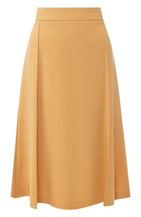Однотонная юбка-миди из шерсти | Фото №1
