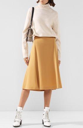 Однотонная юбка-миди из шерсти | Фото №2