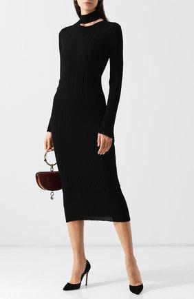 Шерстяное платье-миди с воротником-стойкой Act n1 черное   Фото №1