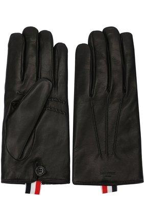 Кожаные перчатки Thom Browne черные | Фото №1