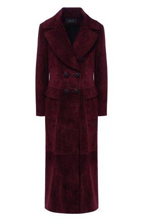 Двубортное кожаное пальто | Фото №1