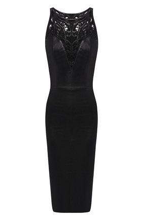 Приталенное кожаное платье с декоративной вставкой | Фото №1