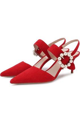 Замшевые туфли с декорированной пряжкой на шпильке Miu Miu красные | Фото №1