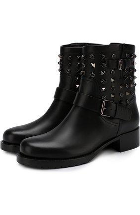 Женские кожаные ботинки valentino garavani rockstud rolling noir VALENTINO черного цвета, арт. QW2S0307/NPF | Фото 1