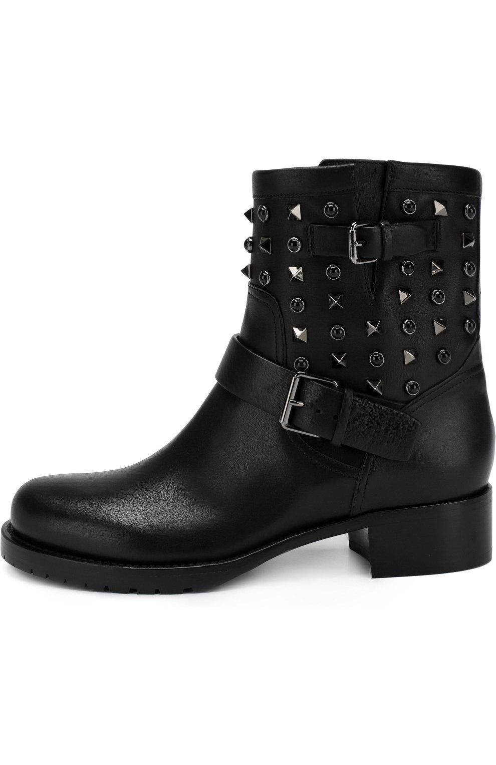 Женские кожаные ботинки valentino garavani rockstud rolling noir VALENTINO черного цвета, арт. QW2S0307/NPF | Фото 3