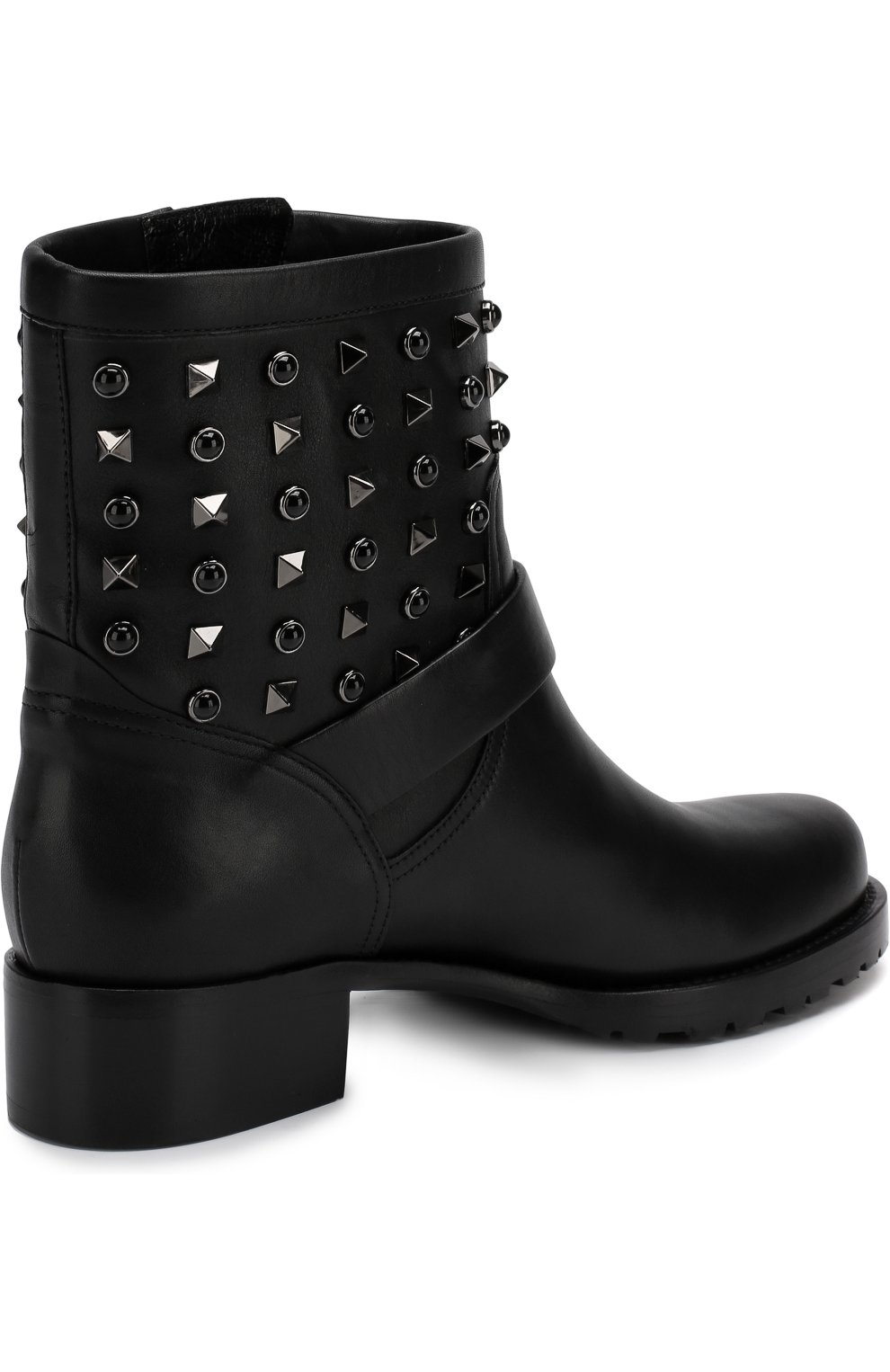 Женские кожаные ботинки valentino garavani rockstud rolling noir VALENTINO черного цвета, арт. QW2S0307/NPF | Фото 4