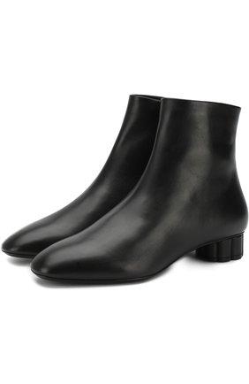 Кожаные ботильоны Molfetta на фигурном каблуке Salvatore Ferragamo черные | Фото №1