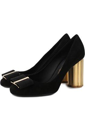 Замшевые туфли Capua на устойчивом каблуке Salvatore Ferragamo черные | Фото №1