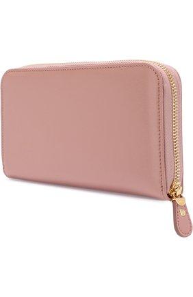 Кожаный кошелек на молнии Salvatore Ferragamo светло-розового цвета | Фото №1