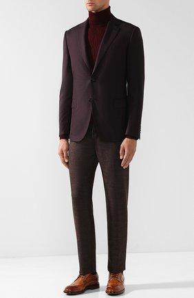 Однобортный шерстяной пиджак Pal Zileri бордовый | Фото №1