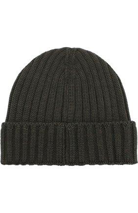 Шерстяная шапка с логотипом бренда C.P. Company темно-синего цвета | Фото №1