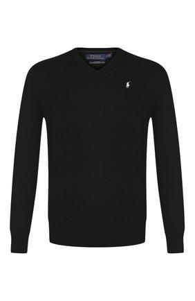 Мужской шерстяной пуловер POLO RALPH LAUREN черного цвета, арт. 710714347 | Фото 1