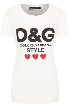 Женская хлопковая футболка с круглым вырезом и логотипом бренда DOLCE & GABBANA белого цвета, арт. F8H32T/FH734 | Фото 1