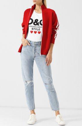 Женская хлопковая футболка с круглым вырезом и логотипом бренда DOLCE & GABBANA белого цвета, арт. F8H32T/FH734 | Фото 2
