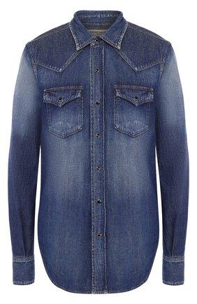 Джинсовая блуза с накладными карманами | Фото №1