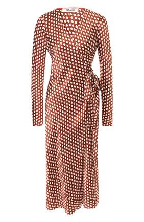 Шелковое платье-миди с запахом   Фото №1
