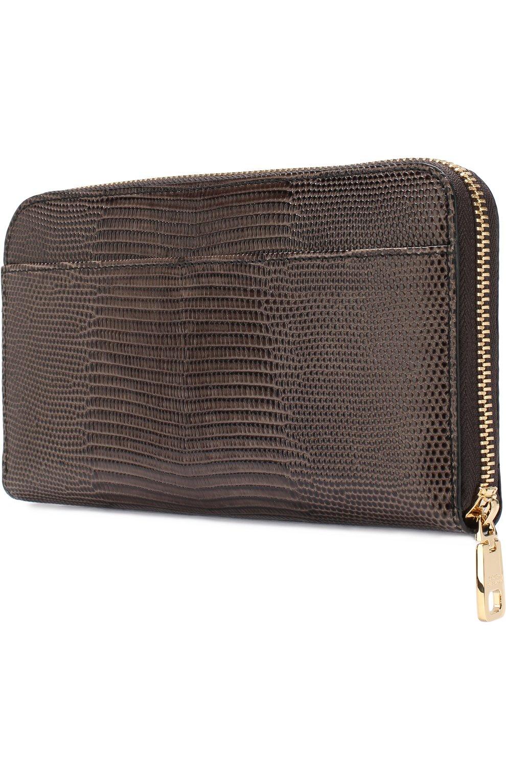 Кожаный кошелек на молнии Dolce & Gabbana коричневого цвета   Фото №2