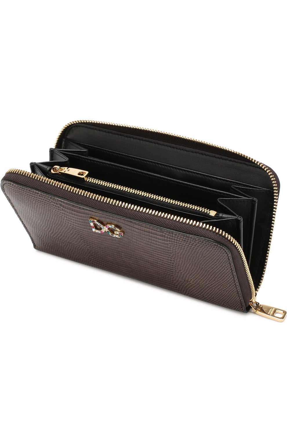 Кожаный кошелек на молнии Dolce & Gabbana коричневого цвета   Фото №3