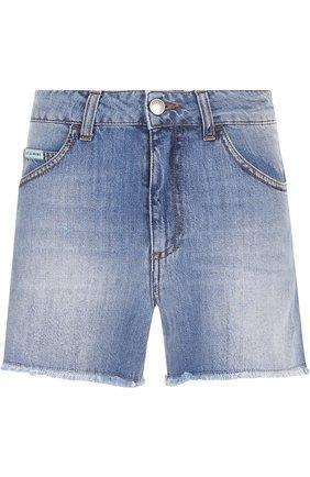Джинсовые шорты с потертостями и бахромой Alexachung голубые   Фото №1