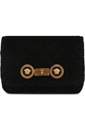 Сумка Icon из бархата Versace черная цвета | Фото №1