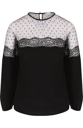 Женская шелковая блуза с полупрозрачной вставкой REDVALENTINO, цвет черный, арт. QR0AB255/323 в ЦУМ | Фото №1