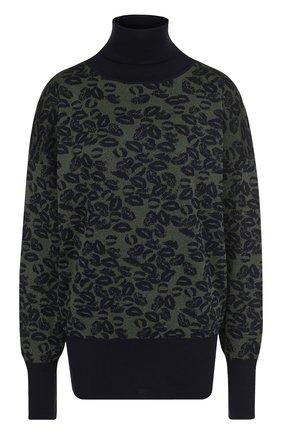 Вязаный пуловер с принтом и высоким воротником | Фото №1
