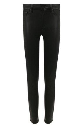 Укороченные джинсы с потертостями Paige черные | Фото №1