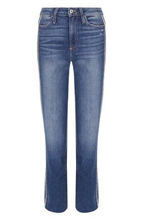 Укороченные джинсы с потертостями и контрастной отделкой Paige синие | Фото №1