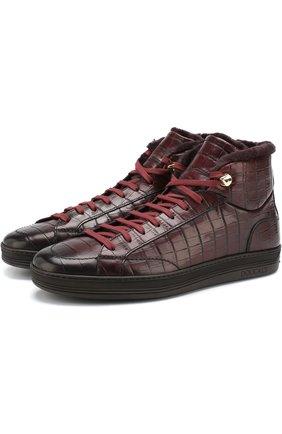 Кожаные кроссовки на шнуровке с внутренней меховой отделкой Doucal's бордовые | Фото №1