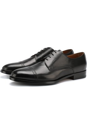 Кожаные дерби на шнуровке Doucal's черные | Фото №1