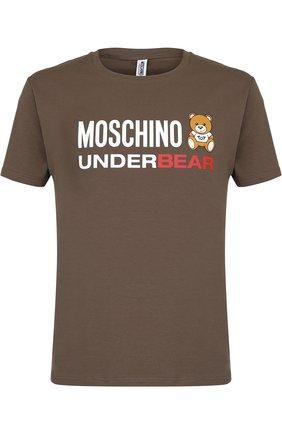 Хлопковая футболка с круглым вырезом и логотипом бренда Moschino серая | Фото №1