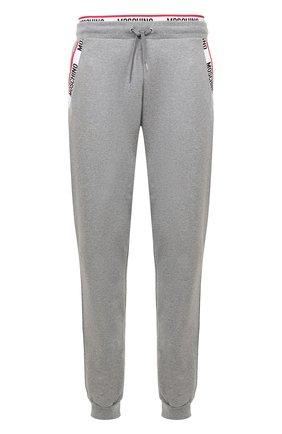 Хлопковые домашние брюки с манжетами на резинке Moschino серые | Фото №1