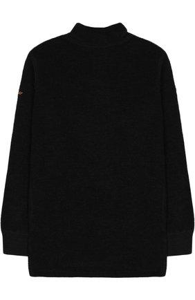 Детская лонгслив с воротником стойкой Norveg черного цвета | Фото №1