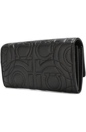 Женские кожаный кошелек с клапаном SALVATORE FERRAGAMO черного цвета, арт. 695467 | Фото 2