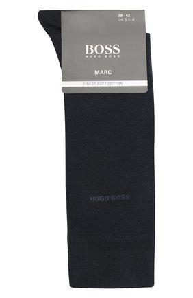 Мужские хлопковые носки BOSS темно-синего цвета, арт. 50388436 | Фото 1 (Материал внешний: Хлопок; Статус проверки: Проверена категория; Кросс-КТ: бельё)