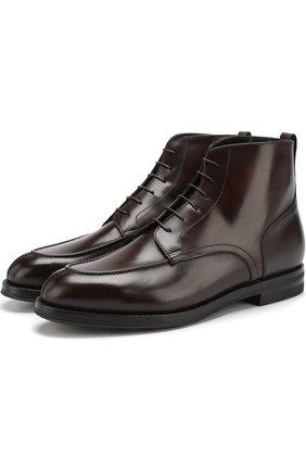 Высокие кожаные ботинки на шнуровке с внутренней меховой отделкой W.Gibbs темно-коричневые   Фото №1