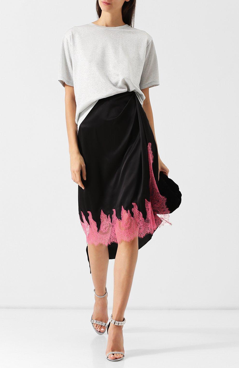 b7564147173 Женская черная шелковая юбка-миди с кружевной вставкой WALK OF SHAME ...