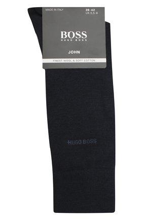Мужские носки из смеси шерсти и хлопка BOSS темно-синего цвета, арт. 50388420 | Фото 1 (Материал внешний: Шерсть; Кросс-КТ: бельё)