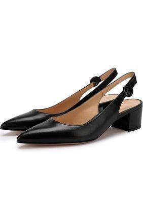 Кожаные туфли Amee на устойчивом каблуке | Фото №1